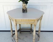 French Cottage Style Shabby Chic Ornate Milk Paint Table