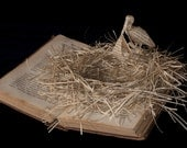 """Photographic Print of Book Sculpture 'A Stork Delivers' 10"""" x 8"""""""