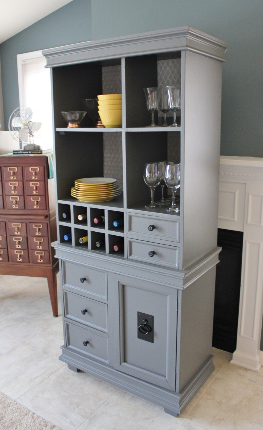Wine Bar Storage Cabinet Made From 1970s Tv Stand And Recycled