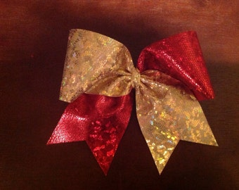 Red & Gold Hologram cheer bow
