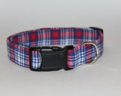 SALE 30% OFF Red and Blue Plaid Collar