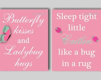 Baby Girl Nursery Art Butterfly Wall Art, Butterfly Kisses, Sleep Tight, Pink Nursery Art, Butterfly Bedding Decor, Choose Colors BF2622