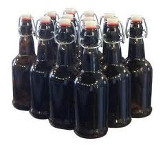 Amber 16 Oz Flip Top Bottles Case of 12
