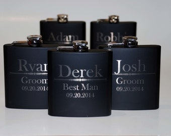 Wedding party favors, Set of 9 engraved Flasks, Groomsmen flask, Groomsman, Best man, Custom engraved 6oz flask., flask, personalized flask,