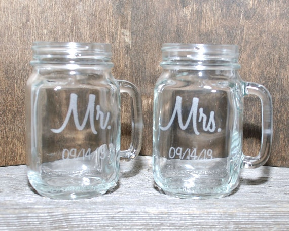 Engraved Wedding Mugs : Mugs Personalized, Wedding Favors, Engraved Mason Jar, Mason Jar Mugs ...