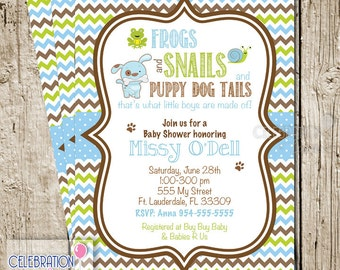 Frogs Snails and Puppy Dog Tails Baby Shower Invitation | Digital Printable Emailed Invite by Celebration Lane