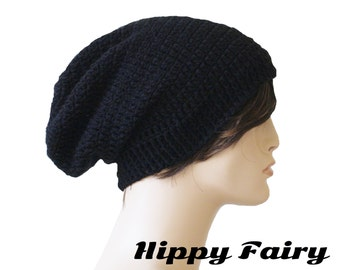 Black Black Beanie, Black Hat for Men or Woman, long extra large Black oversized slouchy beanie hat