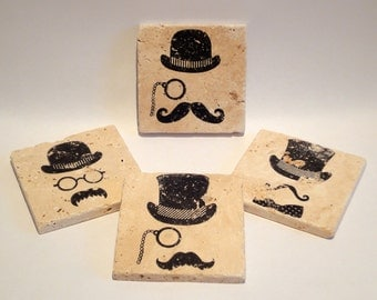 The Hats with Mustaches Coasters - set of 4