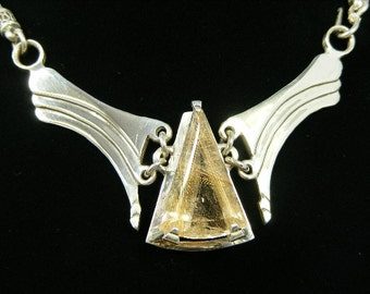 Descending Waves With Rutilated Quartz,  Handmade Original, Art Jewelry, Sterling Silver. Brilliant Finish