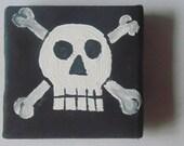 Skull and Crossbones Pirate Flag Refridgerator Magnet, White, Gray, Black,  2x2, Handmade