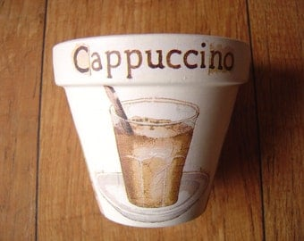 Hand Painted and Decoupaged Decorative Flower Pots, Coffee Culture, Cappuccino