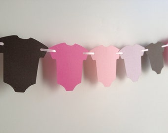 Baby Shower Garland, Baby Shower Decor, Pink and Brown Paper Garland, Pink and Brown Baby Shower Decor, It's A Girl Baby Shower Decor