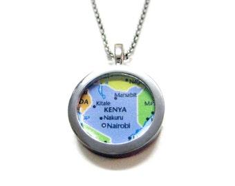 Kenya Map Pendant Necklace