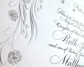 Quaker marriage certificate in calligraphy with illustrated border