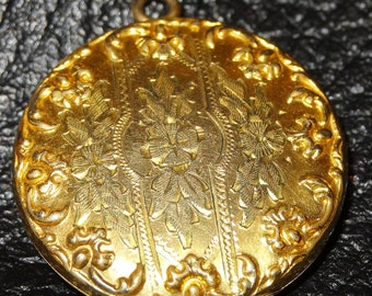 Antique Locket Pendant with 10K Gold Chain Engraved 1800s