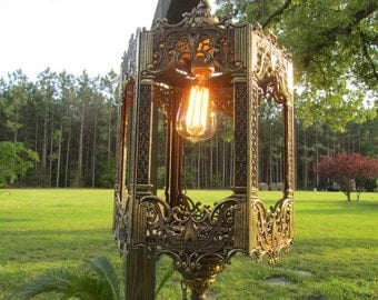 Vintage Ornate Swag Light, Chandelier, retro light, 1960-70s, Six Sided Light