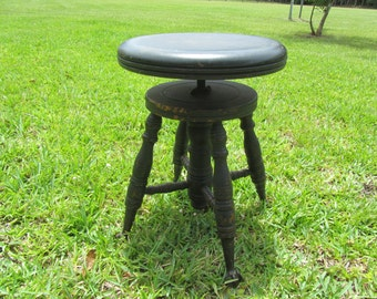 Antique Piano Stool Claw Footed Glass Ball Feet Stool