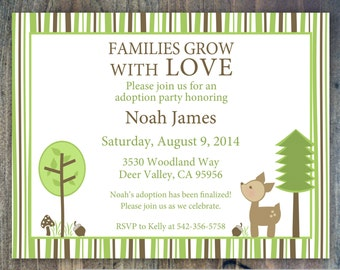 adoption invitation woodland deer adoption party adoption shower for baby international or - Adoption Party Invitations