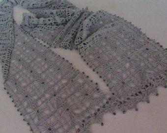Crochet Fashion Scarf in Grey-Green