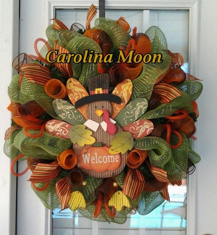 Thanksgiving Turkey Welcome Wreath Sage Green