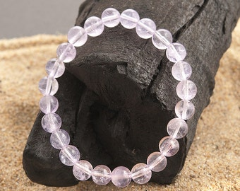 stretch bracelet  lavender quartz 8mm natural beads | elastic bracelet semi precious stones
