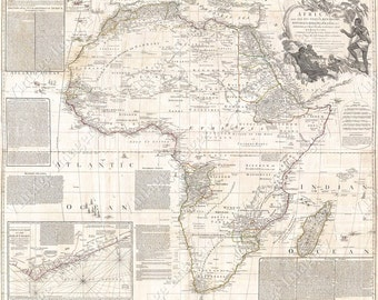 Map of Africa 1794 Africa Gold Coast African Antique Giant Wall Map Restoration Hardware Style Vintage Africa map Fine Art Print