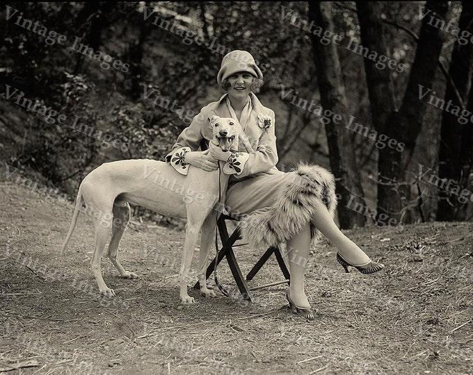 Vintage Miss America Black & White 1921 greyhound Photo of Margaret Gorman with greyhound dog Photograph fine art print wall home decor