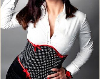 "Underbust Corset ""Pinup"" Black White Dots Red Satin, Black satin lining + Cuff Garnet beads"