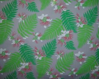Hawaiian Fabric - Green Fern Leaves on Gray Background