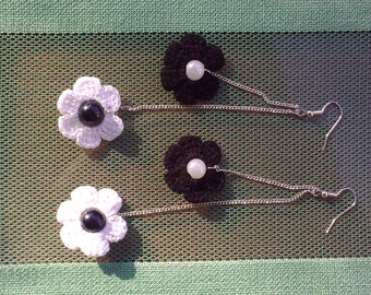 crochet earrings, crochet flower earrings, crochet jewelry, white flowers, black flowers, black and white
