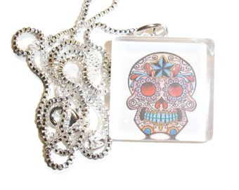 White and Pink Sugar Skull Glass Pendant Necklace