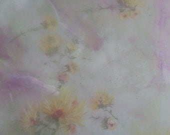 original abstract floral/flowers landscape pink and yellow shabb chic romance
