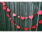 Valentine Weddings Love Red Hearted Garland - Hand Punched, Sewn, Romantic Decorations