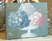 Still Life Acrylic Painting - Original Art - Hydrangeas in August - Modern Impressionist Cottage Garden