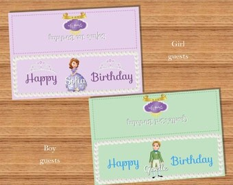 8-Sofia the First AND Prince James Goodie Bag folded card Personlized Labels