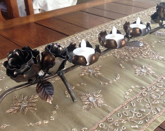 Steel Rose Tea light / votive/ candle holder / table piece