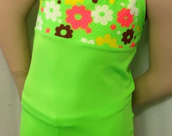 ON SALE!!!!  New Lime green long top dance/gymnastic outfit set