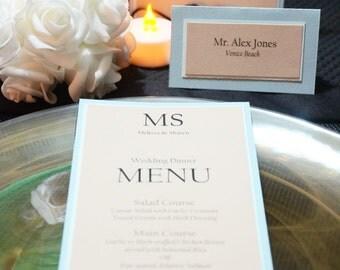 Wedding dinner menu card, beach wedding menu, monogram wedding menu, blue dinner menu