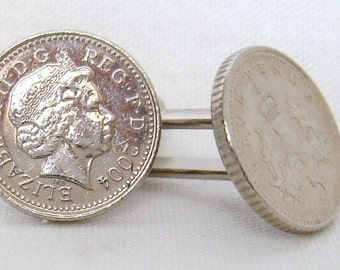 Boxed Pair  British 2004 Five Pence Penny Coin Cufflinks Wedding Birthday Anniversary