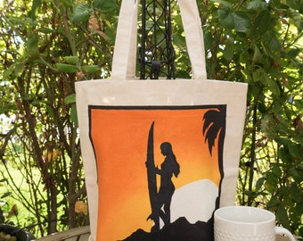 Surfer Hand painted 100% cotton canvas tote-surfer/starfish