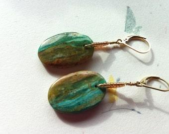 Mirror Image Peruvian Opal Earrings