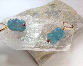 Baby Blue Celestine and Pink Swarovski Earrings