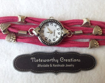 Faux Suede Watch: Dark Pink with Heart Beads
