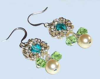 Byzantine romanov chainmaille dangle bauble chandelier earrings with Swarovski elements , gift for her, holiday gift ideas