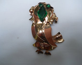 vintage sterling bird pin whimsical mid century modern-fun and unique gift idea-green rhinestones for eyes and beak=abstract design brooch