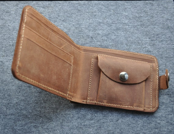 Beautiful Brown Leather Wallet. Stylish Men's Portemonnaie. Durable Credit Card Cash and Banknote Holder.