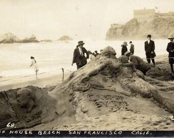 Cliff House- San Francisco- Sand Sculpture Art- Mermaid-Photo Print
