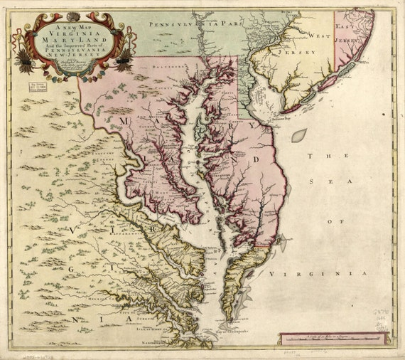 The Sea of Virginia- 1800s- Maryland, PA, Virginia - Atlantic- Beautiful Print=(Antique,Vintage,Old) =Map is Perfect for Framing!
