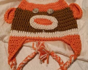 Crochet Sock Monkey Beanie Hat