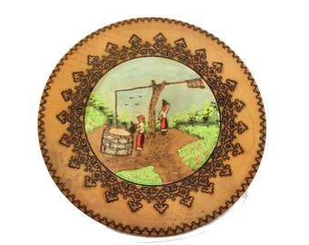 Vintage Rustic Plate Handmade Wooden Painted Wall Hanging Peasant Women Fountain